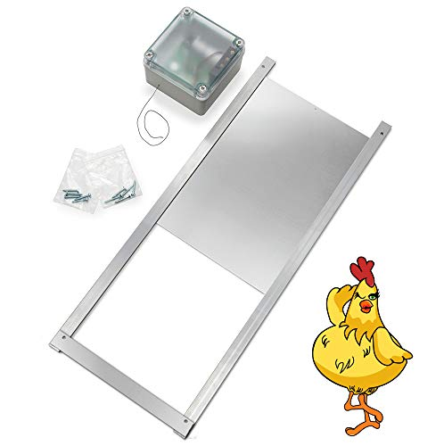 Happy Henhouse Automatic Chicken Coop Door Opener Kit - Electric Auto Chicken Guard Door for Coops, Cages, Runs - Solar Light, Battery Operated - Sturdy Poultry Safety Supplies Kit