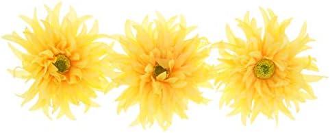 3x夏のブライダルウェディングパーティーフラワーヘアクリップ髪留め女性アクセサリー - 黄