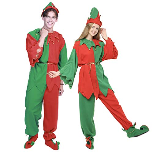 EraSpooky Adults' Christmas Costumes Santa Elf Costume Women Elf Outfit Men Dress Up - Funny Cosplay Party -