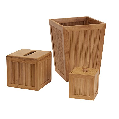 household essentials 3 piece essential bamboo bathroom accessory set