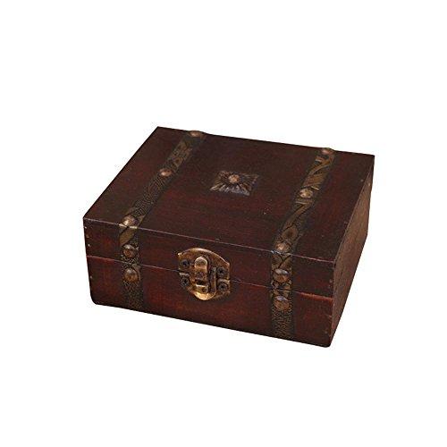 Aolvo Caja de Madera, clásico Decorativa Cofre del Tesoro Caja de Almacenamiento para Joyas, Abalorios, Regalos y...