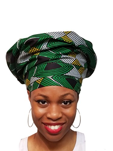 Green, Black, Gold African Print Ankara Head wrap, Tie, scarf, Multicolor, One Size