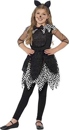 Cat Girl Costume Child Uk (Smiffy's Children's Deluxe Midnight Cat Costume, Dress, Tail & Cat Ear)