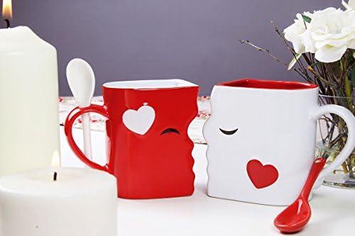 Aniversarios 1 Blanca 1 Roja Hermosamente Empaquetadas para Regalo de Navidad Juego de Tazas de Besos Con Cucharas a Juego San Valent/ín Exquisitamente Confeccionadas Dos Tazas Grandes