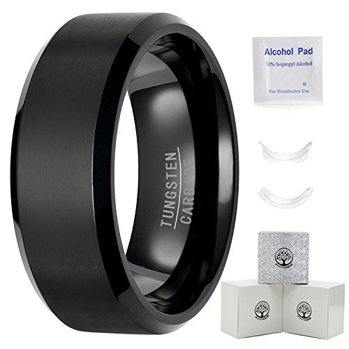 Black Wedding Bands.Mens Black Wedding Bands 8mm Tungsten Carbide Rings For Men Wedding Rings For Him Matte Finish Comfort Fit