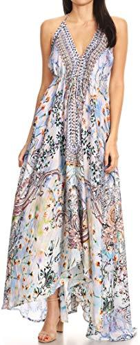 Sakkas 1817 - Lizi Womens Maxi High-Low Halter Handkerchief Long Dress Beach Party - ORW234-White - OS