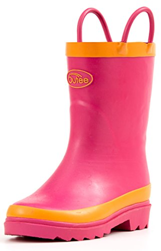 Girls Wellies - Toddler Girls Pink Natural Rubber Rain Boots in Solid Color with Easy-On Handles Classic Waterproof Comfortable for Kids Removable Insoles Anti-Slippery Durable Sole with Grip (Size 7)