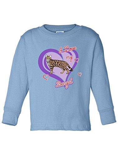 Tenacitee Boy's Toddler Bengal Cat Long Sleeve T-Shirt, 3T, Light Blue