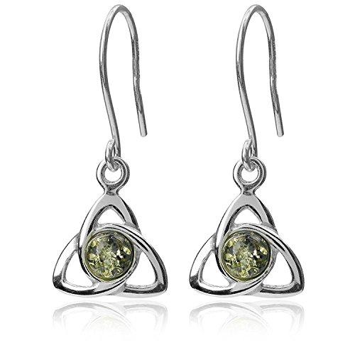 Green Amber Sterling Silver Celtic Fishhook Earrings ()