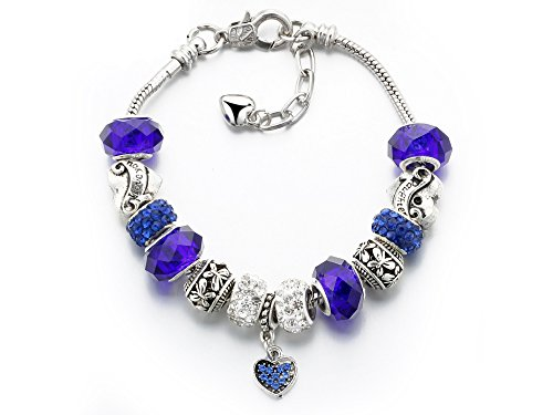 Silver Set Charm Bracelet (Vintage Carved Handmade Glass and Swarovski Elements Crystal Sterling Silver Plated Charm Bracelets in Gift Box (Sapphire))