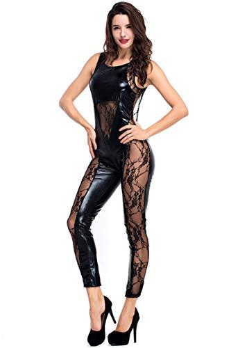 HNGHOU Women's Wet Look Jumpsuit Sexy Open Back Leather Jumpsuit Cat Suit Black