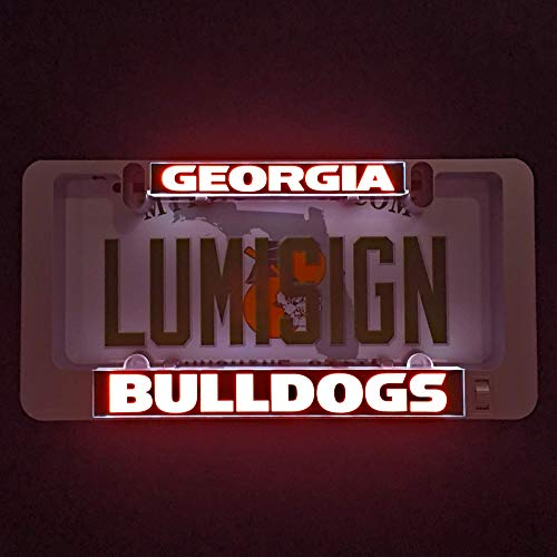 LumiSign - The Auto Illuminated License Plate Frame | Lights Up While You Brake | Installs in Seconds | No Wires, Battery Operated | Interchangeable Inserts (Georgia)