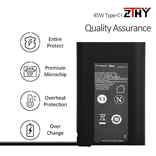 ZTHY Dell 45W USB-C Type C AC Adapter Charger Power Supply for Dell XPS 12 XPS 13 9360 9365 9370 9333 9380 7390 9310 2-in-1 Inspiron 14 7437 Latitude 7275 7370 5175 5285 5290-2in1 Laptop LA45NM150