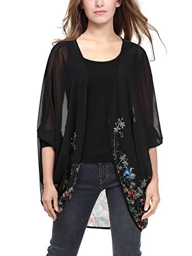BAISHENGGT Women's Print Sheer Chiffon Cardigan Blouse Large Black Floral #1 (Chiffon Sheer)