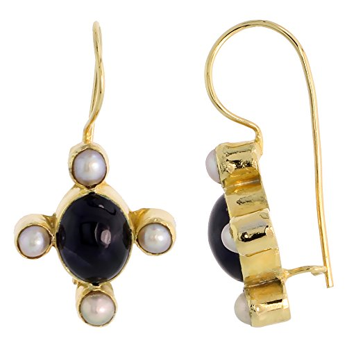 Sterling Silver & Gold Plated Bali Style Earrings, 8 x 6 mm Oval Cabochon Natural Amethyst Stone & Faux Pearls, 11/16 inch tall