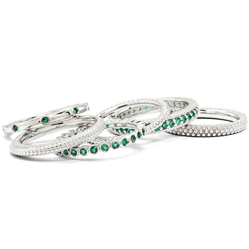 Sterling Silver Stackable 6 Ring Emerald Band Set Size 10 by Stackable Expressions