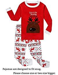 little boys girls red stripe christmas pjs cotton pajama sets - Girls Christmas Nightgowns