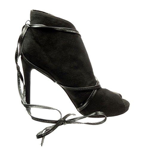 Angkorly - Chaussure Mode Bottine sexy ouverte femme lanière Talon haut aiguille 10 CM - Noir