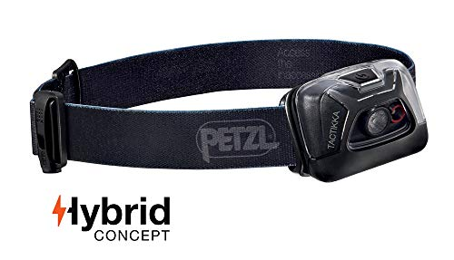 Petzl - TACTIKKA Headlamp, 200 lumens, Ultra-Compact Headlamp, Black