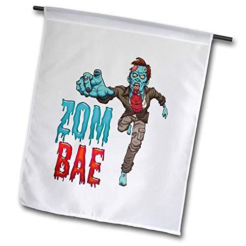 3dRose Carsten Reisinger - Illustrations - Zombae Man Funny Halloween Zombie - 18 x 27 inch Garden Flag (fl_294851_2) -