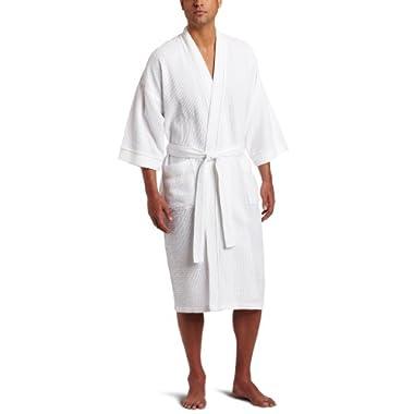 Majestic International Men's Somerset Spa Woven Waffle Kimono Robe, White, One Size