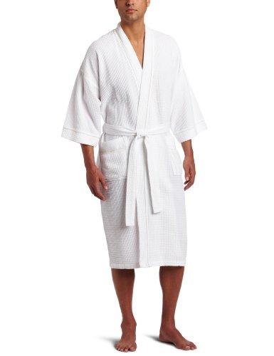 Majestic Spa - Majestic International Men's Somerset Spa Woven Waffle Kimono Robe, White, One Size