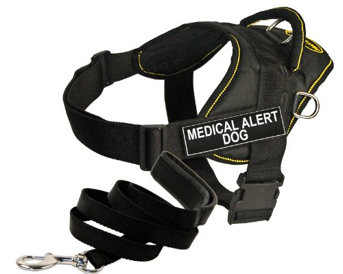 Dean and Tyler Bundle - One ''DT Fun Works'' Harness, Medical Alert Dog, Yellow Trim, X-Large + One ''Padded Puppy'' Leash, 6 FT Stainless Snap - Black by Dean & Tyler