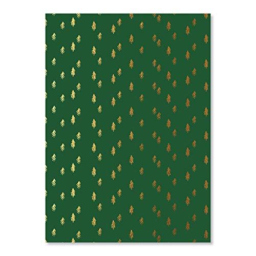 """C.R. Gibson FHJ3-21342 Green and Gold Pine Tree Christmas Wrapping Paper, 20"""" W x 28"""" L, 3 Sheets, 20″ x 28″, Green & Gold"""