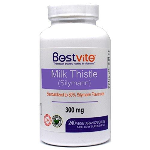 Milk Thistle 300mg (240 Vegetarian Capsules) – Standardized to 80% Silymarin Flavonoids – No Stearates
