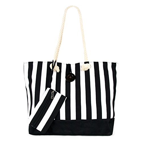 Large Lightweight Striped Canvas Tote Shoulder Bag Handbag w/ Pouch, Black/White