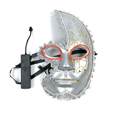 Cosplay Halloween Mask Cosplay Scary Mask LED Glow Festival(red+White 27169cm/Voice Switch) -