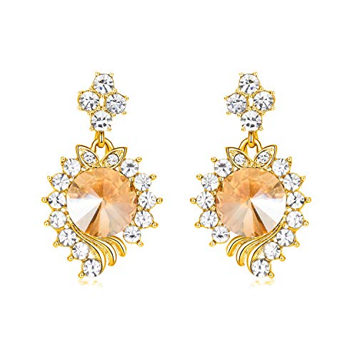 (Yonhi Elegant Dangle Wedding Earrings Women Teardrop Drop Earrings Wedding Jewelry Bridal Cubic Zirconia Drop Earring (Gold))