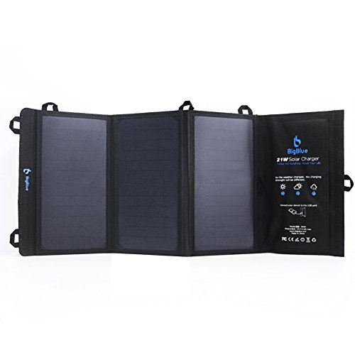 BigBlue 5V 21W Solar Powered Charger Foldable Outdoor Solar Charger with Waterproof SunPower Solar Panels Dual USB Ports for iPhone 8/X/7/6s, iPad Pro/Air 2/Mini, Galaxy S8/S7/S6, LG, Nexus and More