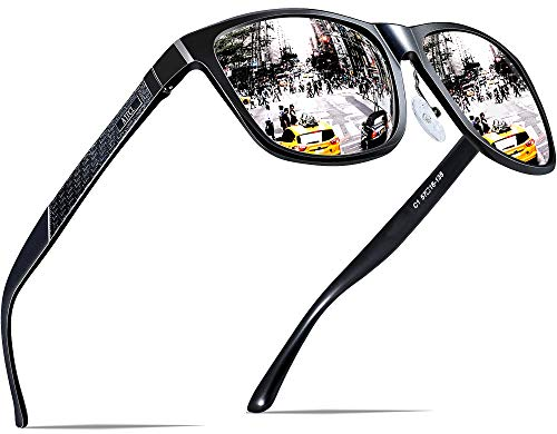 ATTCL Men's Retro Metal Frame Driving Polarized Sunglasses For Men (Black-Silver, 8587)