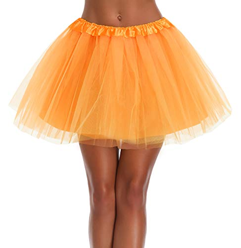 v28 Women's, Teen, Adult Classic Elastic 3, 4, 5 Layered Tulle Tutu Skirt (One Size, 4Layer-Orange)