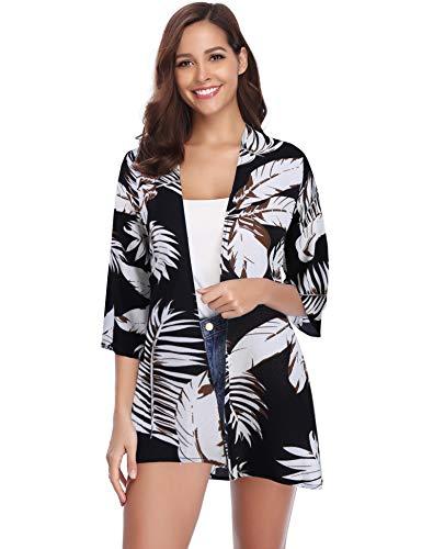 Abollria Damen Chiffon Kimono Cardigan 3/4 Arm Tropenprint Strand Jacke Leicht Bikini Cover up, Schwarz, M