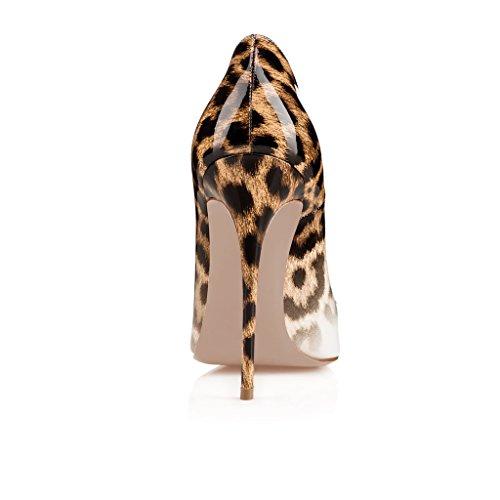 Leopardo Fsj Il Sexy Rivetti Su Stiletti Aguzza 15 Formato Donne Alti Calza Slittamento Con Chiodati gradiente Punta Pompa 4 rrwOTHqBnx