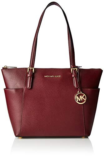 (Michael Kors Jet Set Top-zip Tote, Women's Red (Oxblood), 11.4x25.4x38.1 cm (B x H T))