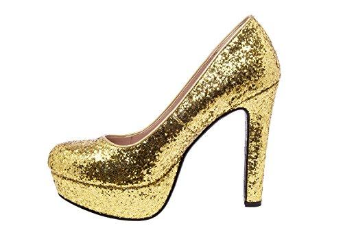 Andres Machado.AM5051.Salones en Soft con plataforma.Para Mujer.Tallas Pequeñas/Grandes 32/35; 42/45 glitteroro