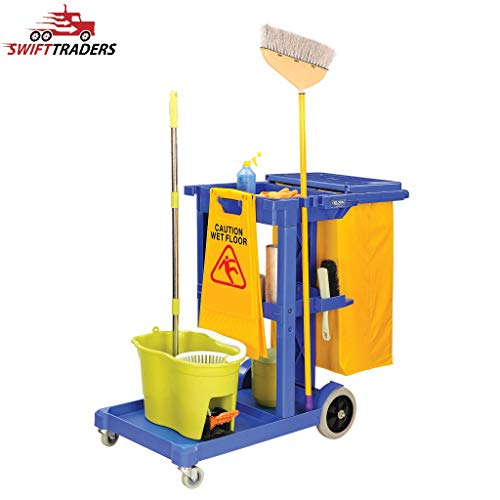 Lightweight High-Density Janitor Cart with 25 Gallon Vinyl Bag in Blue - It Comes with Free Multifold Paper Towels (25 Vinyl Gallon Bag)