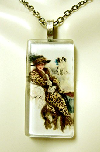 (Lounging with my Japanese Chin glass pendant - DGP02-406 - Harrison Fisher)