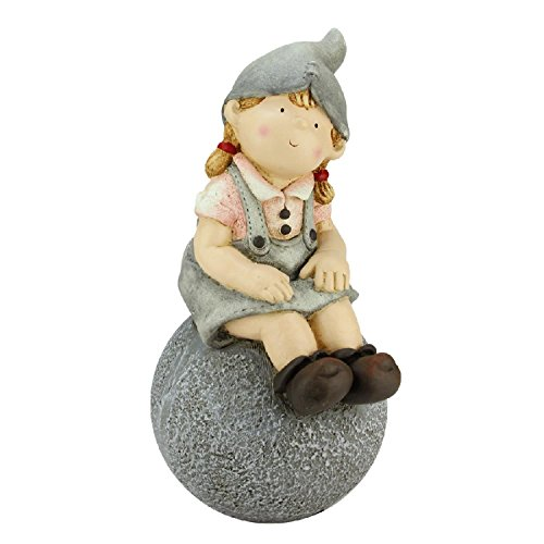 Northlight CB64986 Young Girl Gnome Sitting on Ball Spring Outdoor Garden Patio Figure Statuary and Fountains, 16'', Gray by Northlight