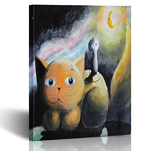 Armko Canvas Wall Art Prints Orange Cat Rat Looking Moon Midnight Sky Painting at Mo Wildlife Oil Way 12 x 12 Inches Wooden Framed Painting Home Decor Bedroom Office