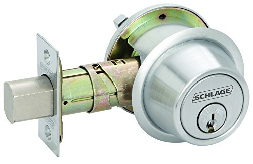 Schlage B560P 626 C Keyway Series B500 Grade 2 Deadbolt Lock, Single Cylinder Function, C Keyway, Satin Chrome Finish (Commercial Bolt Schlage)