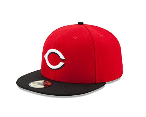 MLB Cincinnati Reds Road Youth AC On Field 59Fifty Fitted Cap, Scarlet, 6 1/2