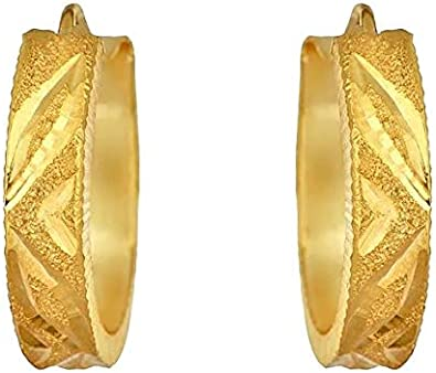 Solid Yellow Fine Gold 22K Certified Hallmarked Round Cartilage Hoop Earring