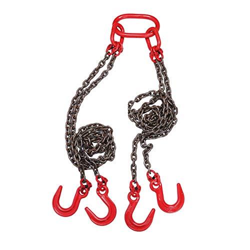BEAMNOVA Chain Sling for Engine Hoist Lift 6 Ton 9/32 Inch 5 Feet with 4 Leg Grab Hooks and Adjuster