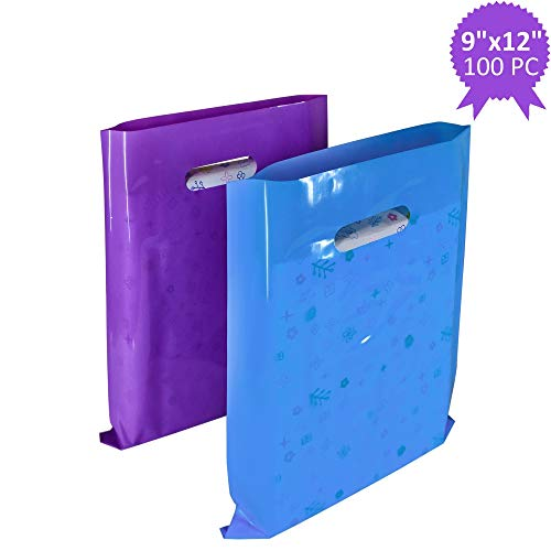 (Wowfit 100 CT 9x12 inches Plastic Merchandise Bags with Fashionable Glossy 50 Purple and 50 Blue. Retail Shopping Bags are Strong with Die-Cut Handle. Perfect for Small Shops and Boutiques)