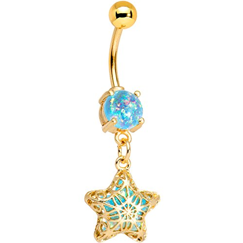 Body Candy Anodized Steel Brilliant Blue Accent Iridescent Captive Star Dangle Belly Ring