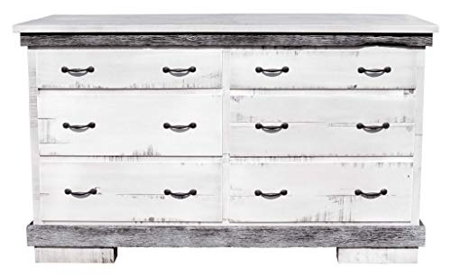 Rustic Two Toned Rough Sawn Brown Maple 6 Drawer Dresser